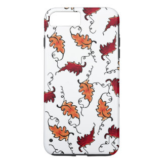 """Capa iPhone 8 Plus/7 Plus """"Folhas de outono de flutuação"""" no branco - case"""