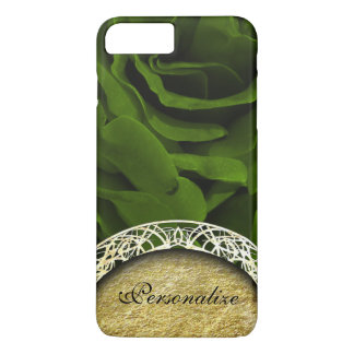 Capa iPhone 8 Plus/7 Plus Foto aveludado da flor dos rosas da verde azeitona