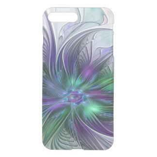 Capa iPhone 8 Plus/7 Plus Fractal moderno da arte abstracta da flor verde