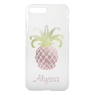 Capa iPhone 8 Plus/7 Plus Fundo cor-de-rosa do ouro Pineapple/DIY do falso