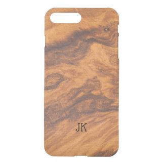 Capa iPhone 8 Plus/7 Plus Fundo moderno na moda da madeira do falso de Brown