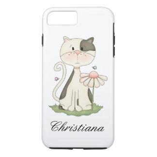 Capa iPhone 8 Plus/7 Plus Gatinho branco e cinzento lunático com flor