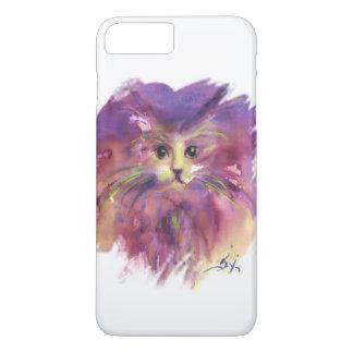 Capa iPhone 8 Plus/7 Plus GATINHO ROXO, RETRATO do CAT do GATINHO, branco