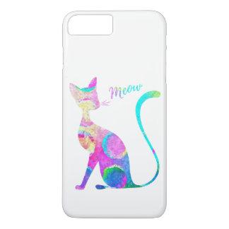 Capa iPhone 8 Plus/7 Plus Gato abstrato da aguarela