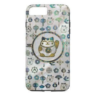 Capa iPhone 8 Plus/7 Plus Gato afortunado de Maneki Neko na pérola e no olmo