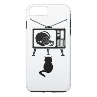 Capa iPhone 8 Plus/7 Plus Gato engraçado que olha o futebol americano