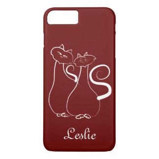 Capa iPhone 8 Plus/7 Plus Gatos vermelhos Leslie elegante personalizada