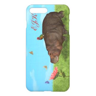 Capa iPhone 8 Plus/7 Plus Hipopótamo feliz, flor, borboletas, monograma