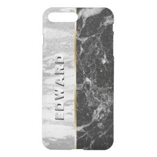 Capa iPhone 8 Plus/7 Plus Impressão de mármore branco & preto moderno