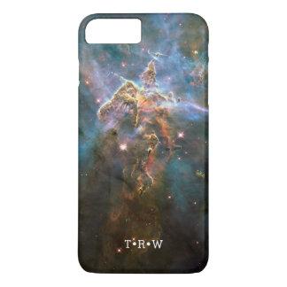 Capa iPhone 8 Plus/7 Plus Iniciais personalizadas nebulosa da galáxia