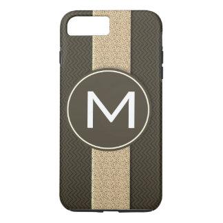 Capa iPhone 8 Plus/7 Plus Inicial do teste padrão da textura do monograma