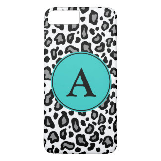 Capa iPhone 8 Plus/7 Plus iPhone branco do leopardo do monograma feito sob