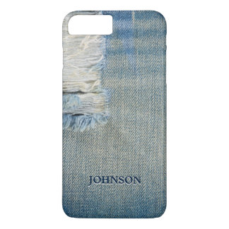 Capa iPhone 8 Plus/7 Plus Jean azul legal e engraçado rosqueia o monograma