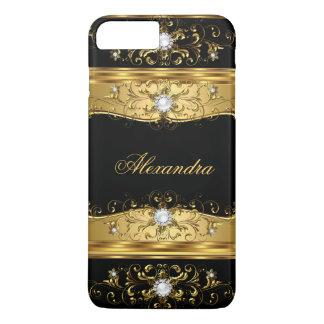 Capa iPhone 8 Plus/7 Plus Jóia régia do diamante da pérola do preto do ouro