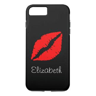 Capa iPhone 8 Plus/7 Plus Lábios vermelhos pretos personalizados simples