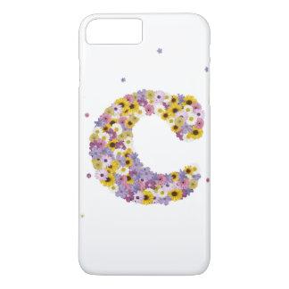Capa iPhone 8 Plus/7 Plus Letra C da flor