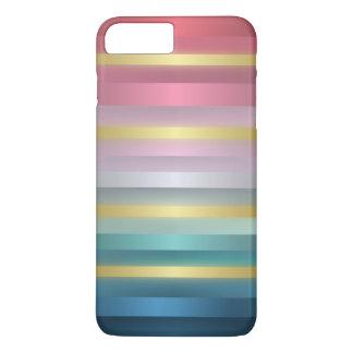 Capa iPhone 8 Plus/7 Plus Listras cor-de-rosa elegantes do ouro de turquesa