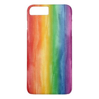 Capa iPhone 8 Plus/7 Plus Listras do arco-íris da aguarela