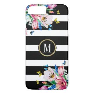 Capa iPhone 8 Plus/7 Plus Listras & flores & borboletas pretas & brancas 2
