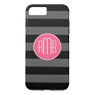 Capa iPhone 8 Plus/7 Plus Listras pretas & cinzentas do rugby com monograma
