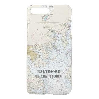Capa iPhone 8 Plus/7 Plus Longitude náutica da latitude da carta da DM de