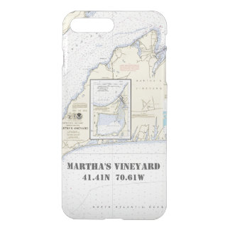 Capa iPhone 8 Plus/7 Plus Longitude náutica da latitude do Martha's Vineyard