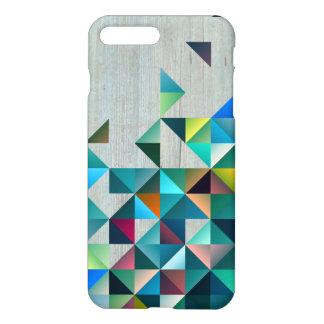 Capa iPhone 8 Plus/7 Plus Madeira envelhecida com triângulos coloridos