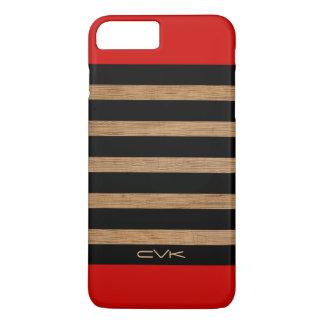 Capa iPhone 8 Plus/7 Plus Madeira vermelho marrom & teste padrão preto das