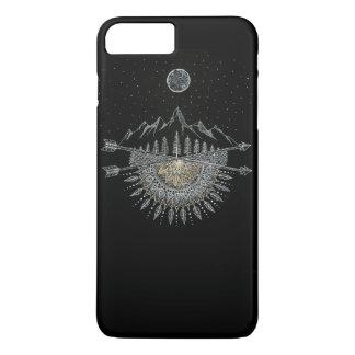 Capa iPhone 8 Plus/7 Plus Mandala da cordilheira da lua e do céu nocturno