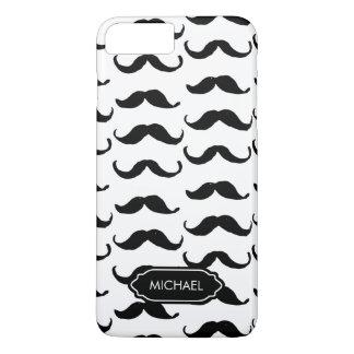 Capa iPhone 8 Plus/7 Plus Mão engraçada bigode branco preto tirado