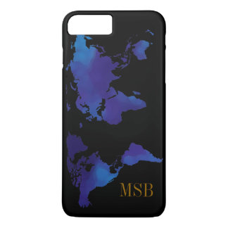 Capa iPhone 8 Plus/7 Plus mapa azul do mundo com iniciais