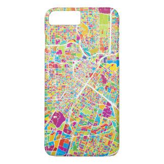 Capa iPhone 8 Plus/7 Plus Mapa de néon de Houston, Texas |