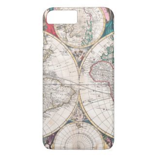 Capa iPhone 8 Plus/7 Plus Mapa do mundo antigo do Dobro-Hemisfério