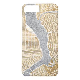 Capa iPhone 8 Plus/7 Plus Mapa dourado da cidade de New York