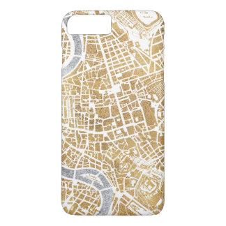 Capa iPhone 8 Plus/7 Plus Mapa dourado da cidade de Roma
