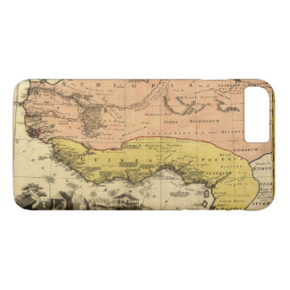 Capa iPhone 8 Plus/7 Plus Mapa velho de África ocidental cerca de 1743