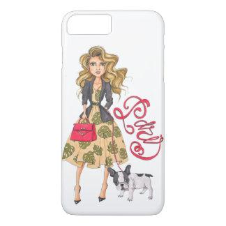 Capa iPhone 8 Plus/7 Plus Menina com buldogue