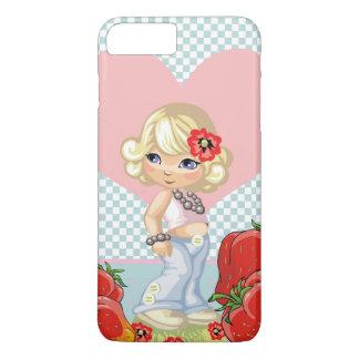 Capa iPhone 8 Plus/7 Plus Menina de Kawaii com as morangos muito bonitos