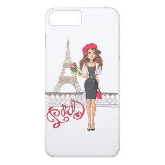 Capa iPhone 8 Plus/7 Plus Menina de Paris da forma pintado mão