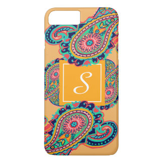 Capa iPhone 8 Plus/7 Plus Monograma alaranjado de Paisley do arco-íris