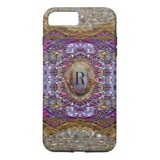 Capa iPhone 8 Plus/7 Plus Monograma Baylphine bonito das violetas