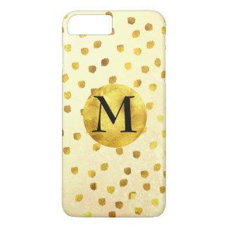 Capa iPhone 8 Plus/7 Plus Monograma com os pontos do Lux do círculo do ouro