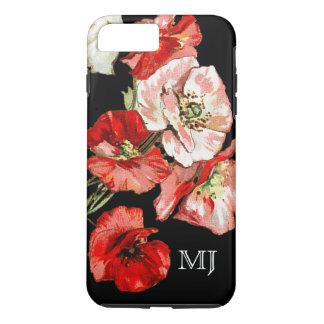 Capa iPhone 8 Plus/7 Plus Monograma da flor selvagem da papoila