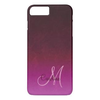 Capa iPhone 8 Plus/7 Plus Monograma de Borgonha Ombre do rosa quente