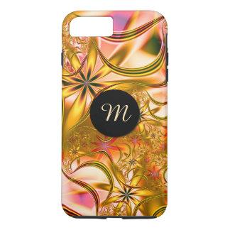Capa iPhone 8 Plus/7 Plus Monograma de florescência do ouro do Fractal
