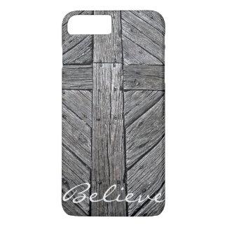 Capa iPhone 8 Plus/7 Plus Monograma de madeira rústico transversal cristão