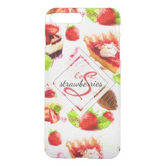 Capa iPhone 8 Plus/7 Plus Monograma do amor dos doces da morango da aguarela