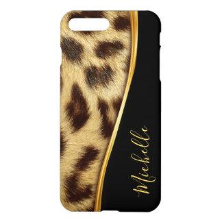 Capa iPhone 8 Plus/7 Plus Monograma elegante da pele do leopardo do falso