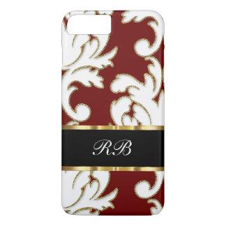 Capa iPhone 8 Plus/7 Plus Monograma elegante elegante da cor damasco