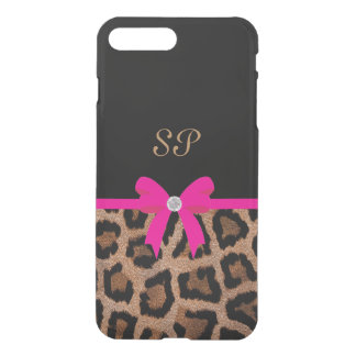 Capa iPhone 8 Plus/7 Plus Monograma na moda do arco do leopardo do rosa